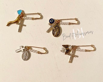 Mini Protection Brooch | Evil eye | Italian horn | cornicello | cross | religious | Mary | something blue | protection pin | pin on stroller