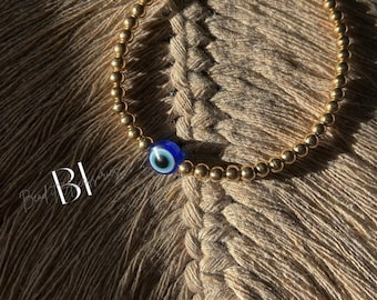 Evil Eye protection Bracelet with Gold plated 4mm beads