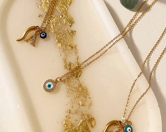 Protection Necklace evil eye/italian horn/letter initial | good luck charm