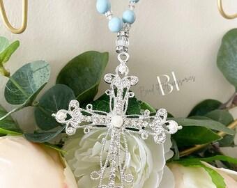 Decade Rosary Keepsake with silver rhinestone/pearl cross | baptism | communion | confirmation | wedding | gift | Religious