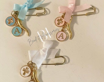 Mini personalized Baby protection Brooch/pin| newborn | baby girl | baby boy | gender neutral | baptism | cross | Italian horn | gift |