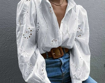 Vintage Embroidered White Blouse, Puff Sleeve, Cotton Women Shirt, Pearl Buttons, Cotton Women's Blouse, Romantic Blouse
