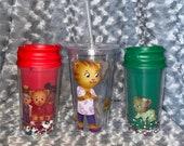 Daniel Tigers Neighborhood, Kids Water Bottle Mom, Dad, Sister Seal Flip Top and adult Travel Tumbler.