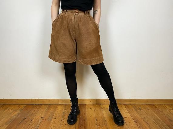 Wide Leg Shorts Brown Vintage 90s High Waist Suede