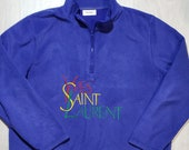 Authentic vintage Yves Saint Laurent homme men long sleeve quarter zip hoodie YSL big logo blue soft fleece sweatshirt rare original 90s