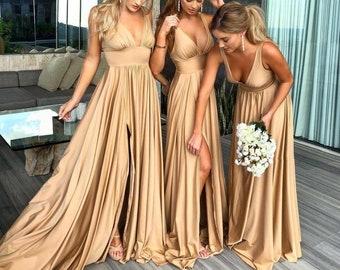 Satin Slit Bridesmaid Dress