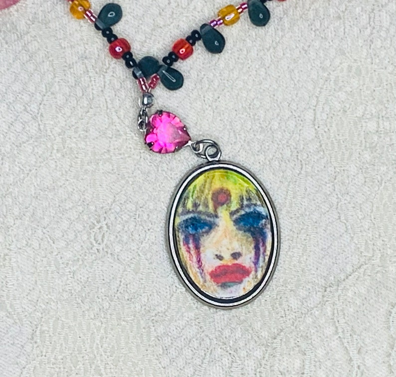 Hand drawn Courtney Love inspired beaded necklace