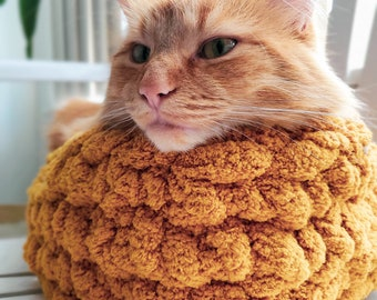 Chunky Cat Bed | Cat Nest | Cat Basket | Calming Cat Bed | Hand Knit Cat Bed | Cat Bed Wool | Pet Nest | Chunky Pet Bed | Kitty Bed