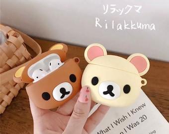 Rilakkuma Bear AirPod 1 / 2 / Pro Case, Kaoru Bear Lover gift, teddy bear AirPod gift, Pretty Kawaii AirPod, bear AirPod 1 2 Pro with Hook