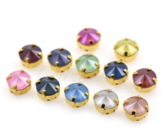 Faceted Crystal Beads,2 Hole Baguette Sew-on Stone,Sewing Rhinestone for DIY Handmade Accessories