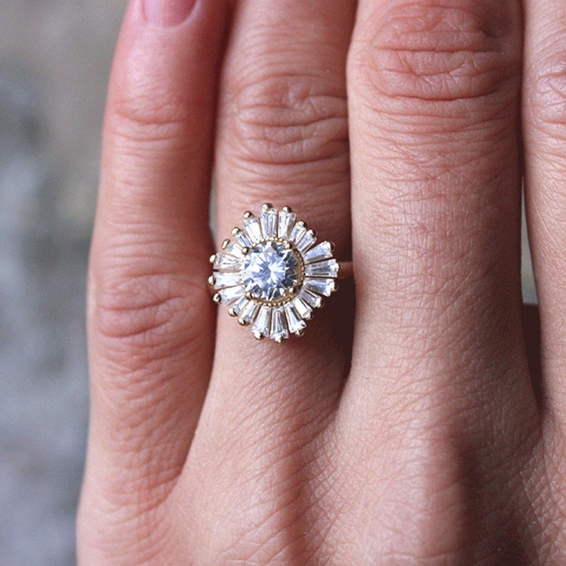 1.00 Ct Round Cut Moissanite Engagement Ring Vintage Art Deco Ring 14K White Gold Ring Round Cut Engagement Ring Anniversary Gift
