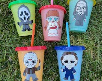 Halloween Cup, Trick or Treat, Horror, Kids Cup, Mini Horror Cups, Custom Cups, Annabelle, Scream, Jason, Michael, The Nun,