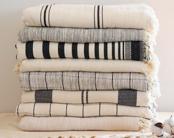 Soft Bedspread with Tassels - White Striped Throw Blanket - King Size Organic Cotton Throw - Queen King Size Bedspread - Housewarming Gift