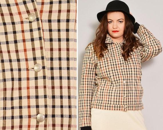 Heritage Style Beige Plaid Jacket | Tatersall Plai