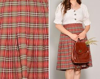 Red 80s Pleated Tartan Skirt | Punk Style A Line Knee Length Skirt | High Waisted Flared Retro Skirt | Scottish Edgy Rocker Wool Skirt | L