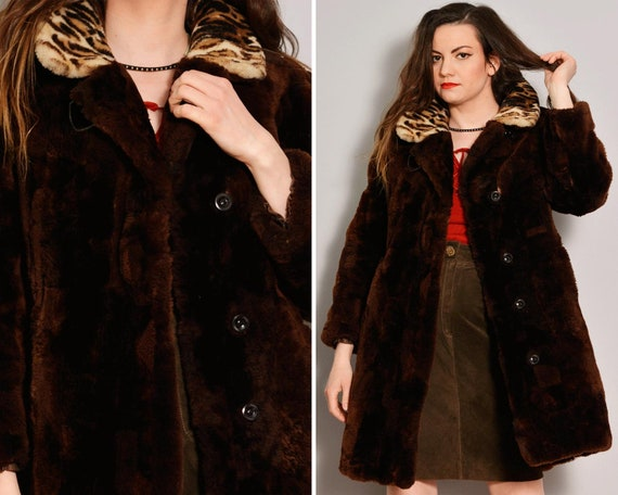 Leopard Print Collar Fur Coat | 80s Brown Fur Coat