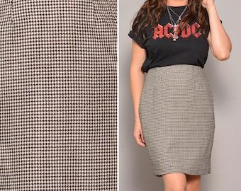Black and White Mini Skirt High Waisted Grey Vintage Pencil Skirts Slit Women Dogtooth Patterned Plaid Office Feminine Elegant