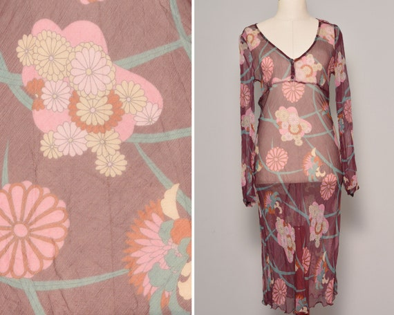 Sheer Purple Silk Boho Dress | Button Up Floral Lo