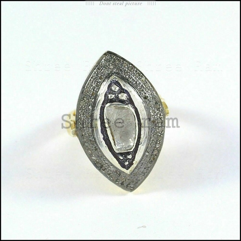Engagement Ring Polki Diamond Ring 925 Sterling Silver Victorian Gold Plated Antique Ring Handmade Deign Fie Ring