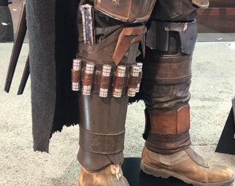 The Mandalorian Real Leather Leg Armour Package Men Cosplay Costume Prop Handmade Hostler Handcrafted Leather gift, Right/Left Leg armour
