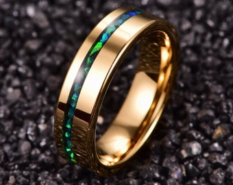 Opal Tungsten Gold Ring Mens Wedding Band Engagement Ring 6mm