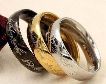 Tungsten One Ring Lord Of The Rings Wedding Ring One Ring Engagement Band 6mm/8mm Gold, Rose Gold, Black, Silver
