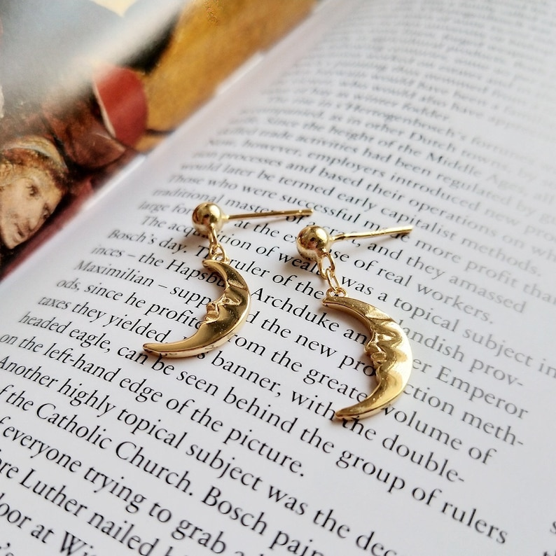 Gold plated sterling silver S925 18K gold plated moon earrings