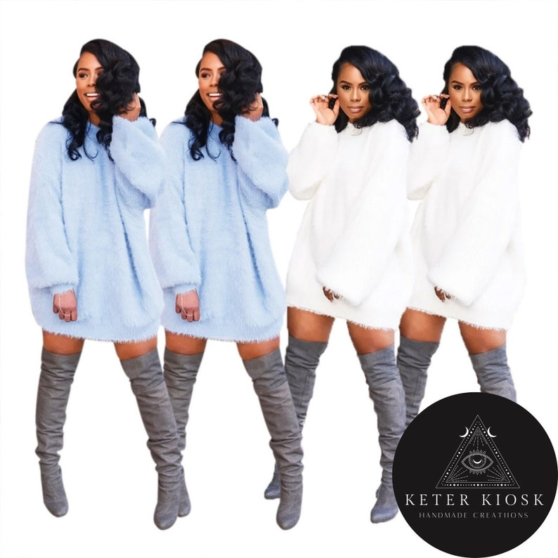 White over size sweater slouchy pullover sweater light Blue over size sweater slouchy pullover sweater comfy pullover slouchy Dress