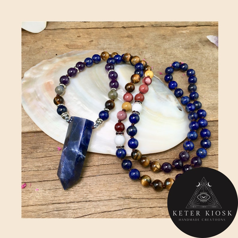 meditation Mala Prayer Mala, Sodalite Point Pendant and Amethysts Quartz Tiger Eye Lapis Beads Knotted Handmade prayer Mala