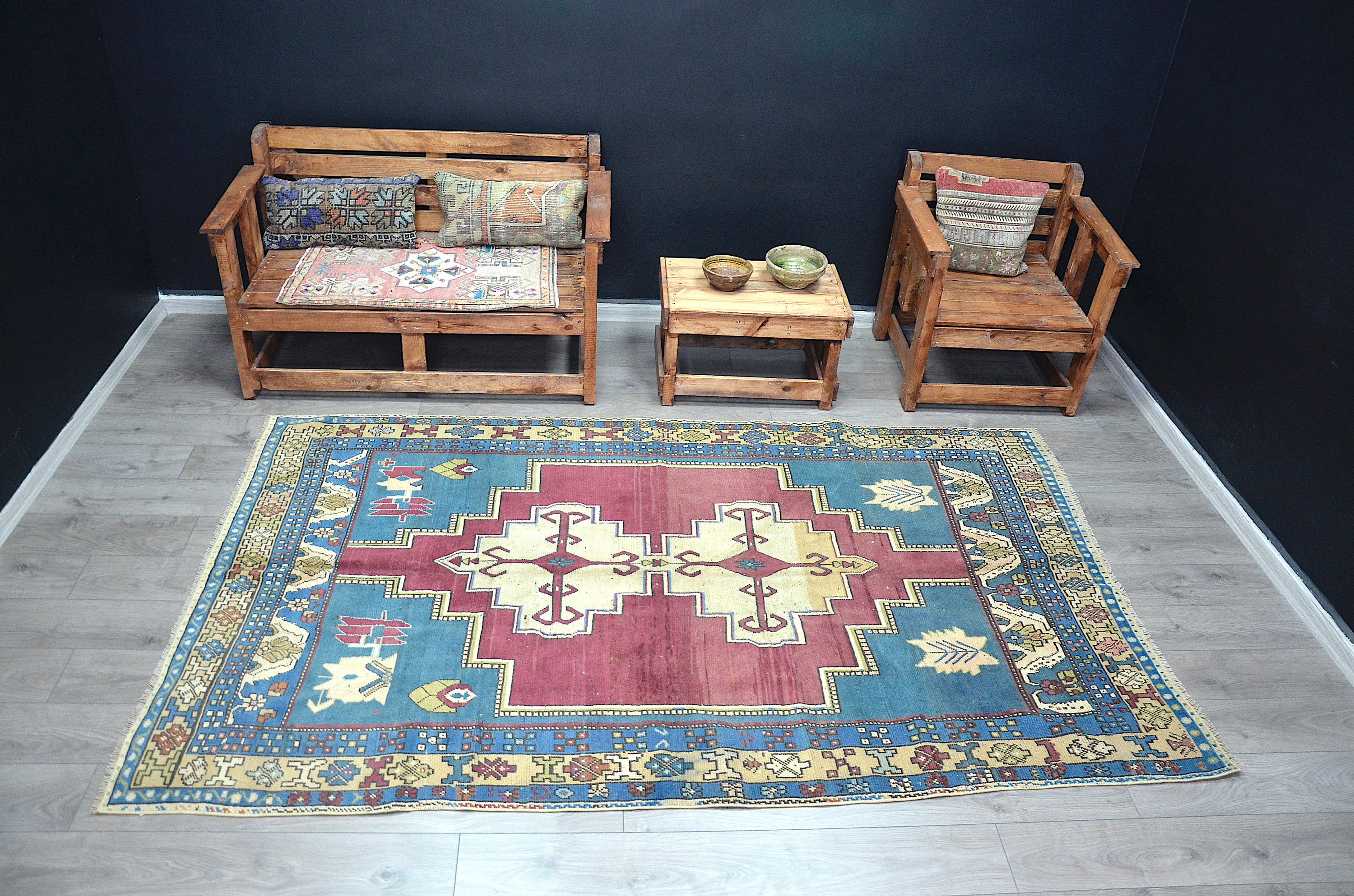 Geschenk für ihn . Türkische Teppich verblasst Teppich | Etsy