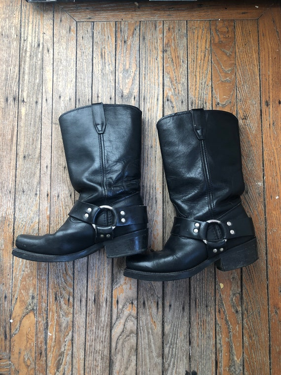 Vintage Vulcan leather harness boots