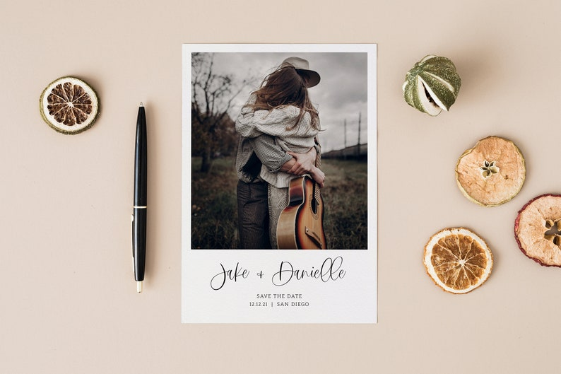 Save the Date Photo Template Editable Save the Date Card Boho Minimal Modern Wedding Black and White DIY Corjl Template with Pictures