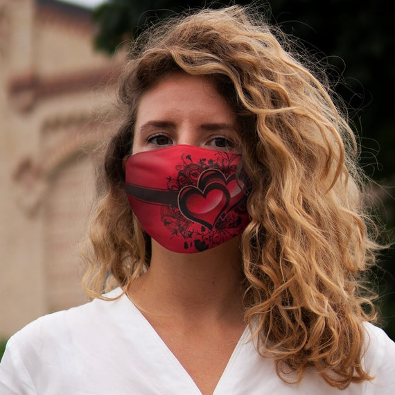 Heart design Polyester Face Mask
