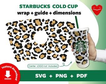 Starbucks Sticker Digital Cut Files Png Pdf Animal Print Full Wrap for Starbucks Cold Cup 24 oz Strawberry Cow Starbucks Svg