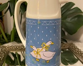 Vintage 1980s Coffee Tea Carafe Pitcher Yellow Ribbon Goose With Blue - Geese Decor - Retro Cottagecore Country Farm Geese 80s 90s Decor