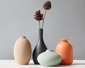 Modern Minimalist Matte Grey Orange Ceramic Vase Set