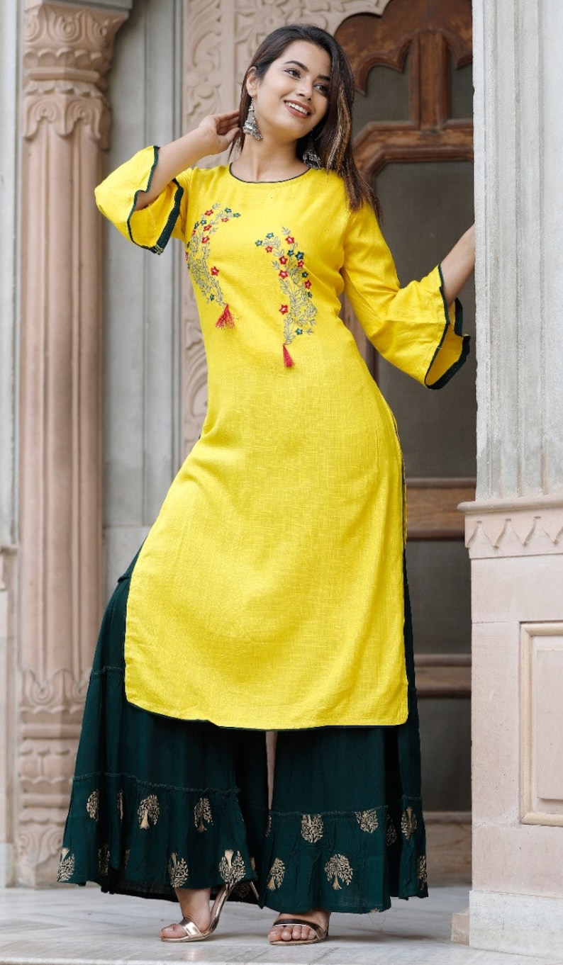 Loose Floral Dress Kurti For Women Designer Kurti Skirt Dress Summer Dress Embroidery Kurta Sharara Fit and Flare Outfit Yellow Dress