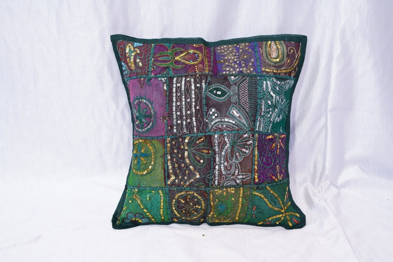Handmade Cotton Cushion Cover Indian Traditional Embroidered Patchwork  Pillow Cover,16 x 16 Indian Cushion Cover Home Decor Pillow Cover,