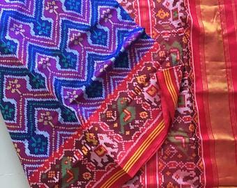 Semi Double ikat Patan Patola Saree Ready to ship