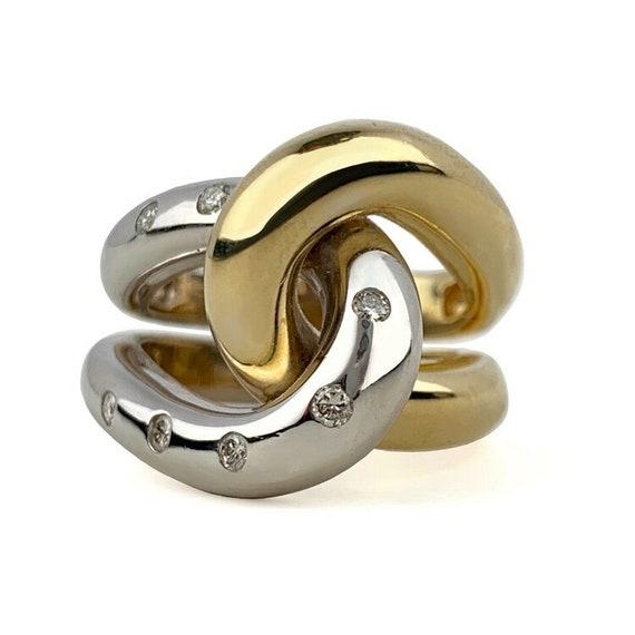 Modern Diamond knot Ring-Two Tone 14k