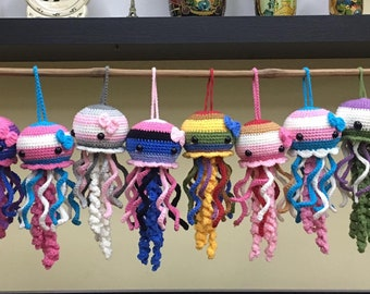 LGBT Jellyfish Crochet, Pride crochet, Crochet Pride Jellyfish, LGBT Gay, Lesbian, Bisexual, Omnisexual, Gender Fluid, Gift for LGBT