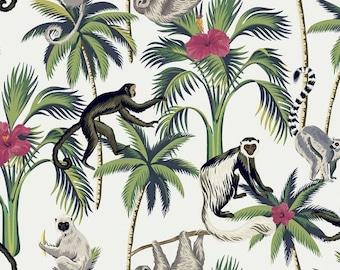 Spider Monkey Tropical Velvet Greens  140cm wide Curtain//Upholstery Fabric