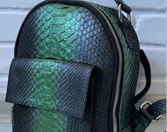 Python Backpack School Backpack Python Laptop Bag laptop bag Men backpack women gift for him Snakeskin Backpack Travel Backpack