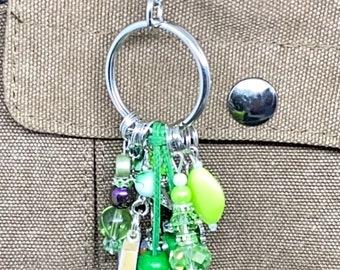 Jade Beaded Key Chain  Purse Charm  Key Fob  Bag Fob  Purse Swag  Handbag Charm  Purse Jewelry