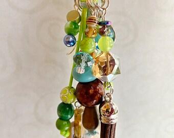 Zipper Pull Beaded Purse Charm Turquoise Purse Charm Turquoise Beads Item 711 Backpack Charm Cross Handbag Charm Bag Charm