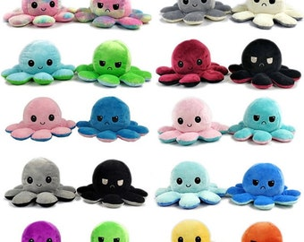 Cute Gift Octopus Double Sided Emotional Changing Flip Reversible Plush Toy Doll