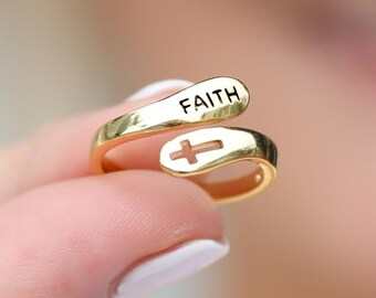 bible statement ring hand stamped ring cross jewelry inspirational ring confirmation jewelry religious jewelry fear not faith ring