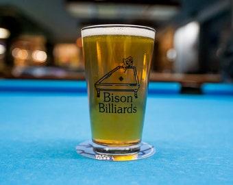 Bison Billiards Pint Glass