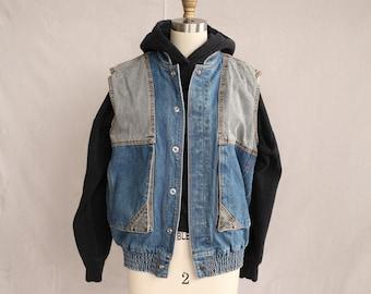 Pimki 1980/'s vintage light blue denimjean vest jacket UK12 US8 EU38