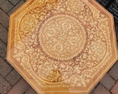 1960s reuge Italian inlaid table Italian music box table wooden marquetry table octagonal shape ornate inlaid design